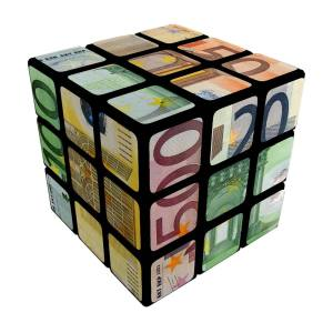 Rubik cube with euro note on the surface TFGP.